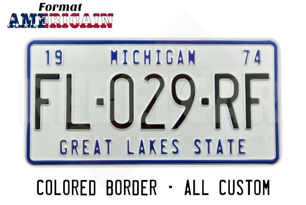 """US EMBOSSED WHITE REFLECTIVE license plate with PUSHED and OPTIONALLY PAINTED BORDER, CUSTOM TEXT(S), size 300x150 mm / 12x6"""""""