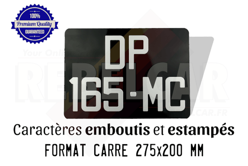 Aluminum GLOSSY BLACK 275x200 mm license plate WITHOUT BORDER (flat) with EMBOSSED and HOT-STAMPED DIGITS WITH SILVER ALUMINUM COLOR