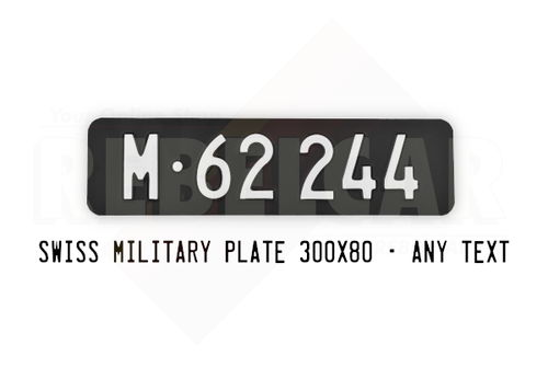 """ALUMINUM SWISS MILITARY MAT BLACK license plate, ACCURATE SIZE 300x80 mm / 11.81x3.15 """", WHITE REGISTRATION"""