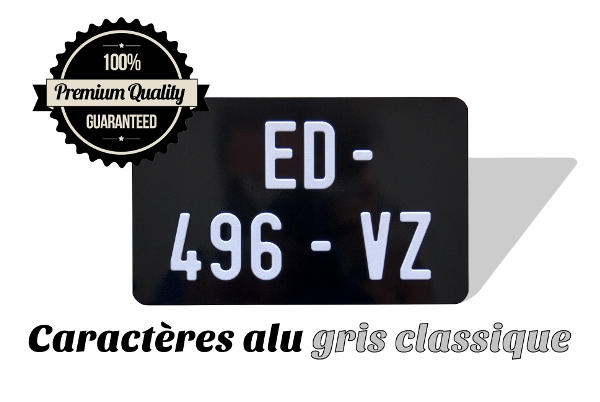 BLACK 210x130 mm aluminum license plate with SILVER DIGITS, NO BORDER