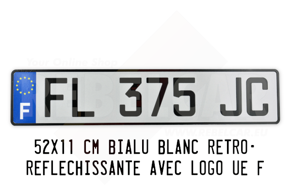 plaque d 39 immatriculation alu blanche 52x11 cm avec logo ue. Black Bedroom Furniture Sets. Home Design Ideas