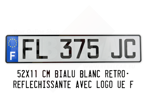 Plaque d'immatriculation blanche FNI 52x11