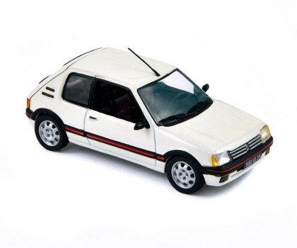 miniature peugeot 205 gti 1 9 1990 blanc meige. Black Bedroom Furniture Sets. Home Design Ideas