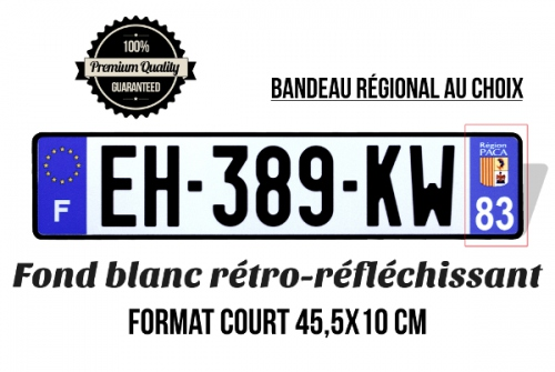 Number plate ALU WHITE retro-reflective 455x100 mm with LISERÉ BLACK, AUTO FINS characters