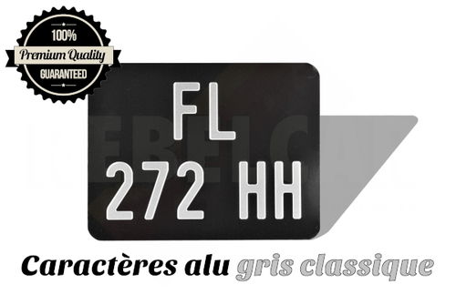 Plaque moto NOIRE collection 170x130 mm ALU GRIS, SANS LISTEL (plein format)