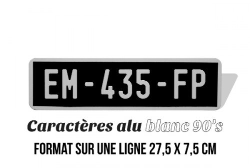BLACK motorcycle plate collection line 27,5x7,5 cm (7,5 cm high) characters ALU WHITE, WITH WHITE LISTEL