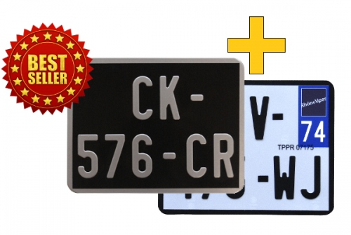 Pack of motorcycle plates BLACK 170x130 mm, aluminum GRIS, WITH LISTEL + WHITE retro-reflective 170x130 mm WITH LISTEL BLACK