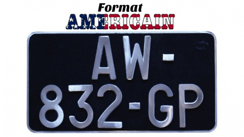 Black US plate Maillefaud format 30x16 large characters auto