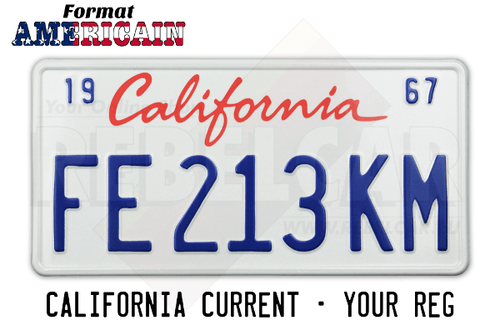 Current white California license plate aluminum embossed 12 x 6 inches
