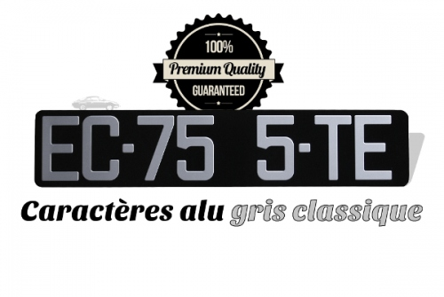 BLACK car plate size 435x90 mm, ALU GRAY, NO LISTEL (full size)