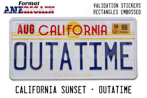 California Sunset OUTATIME Back to the Future embossed aluminum license plate (with rectangles embossed on the top)
