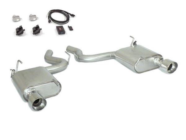 Stainless steel rear silencer left/right each with round Sport Line tail pipe 102 mm with electrical valves including remote control for Ford Mustang VI 2.3 Ecoboost