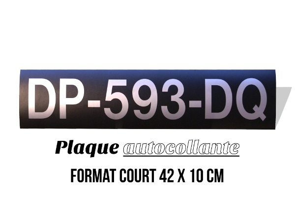 plaque d 39 immatriculation noire autocollante au format court 42x10 cm. Black Bedroom Furniture Sets. Home Design Ideas