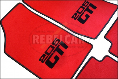 205 GTI RED VELVET FLOOR MATS SET, indicative supply time 5 to 8 weeks - indicative and not guaranteed (made on demand)