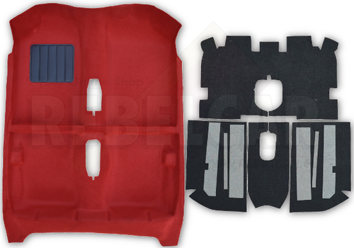 Red thermoformed carpet for Peugeot 205 GTI