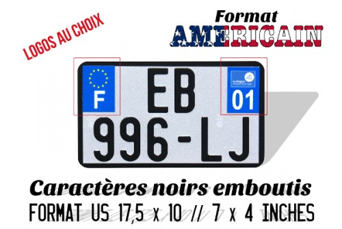White motorcycle plate US size 17,5x10 cm white aluminum with outline