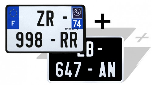 Pack of 2 motorcycle plates: 1 x BLACK bialu GRAY, WITH LISTEL 210x130 mm + 1 x WHITE retro-reflective with EU F logo + optional area 210x130 mm