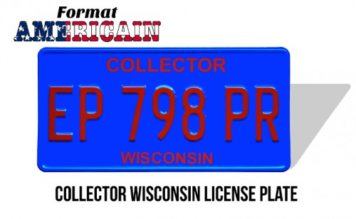 Plaque d'immatriculation Wisconsin Collector bleue aluminium embouti