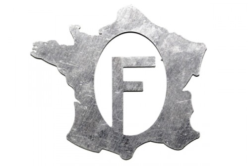 Map of France with F in solid aluminum