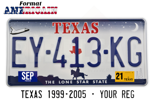 License plate US TEXAS 1999-2005 with white border, format 300x150 mm
