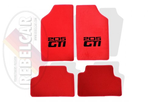 Red floor mats for 205 GTI with red seams and black logos in central position