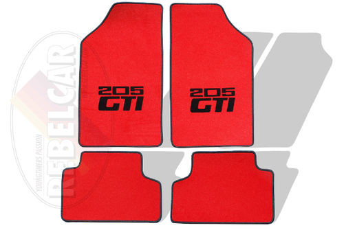 RED VELVET 205 GTI floor mats set with CENTRAL HORIZONTAL BLACK LOGOS and BLACK BORDER