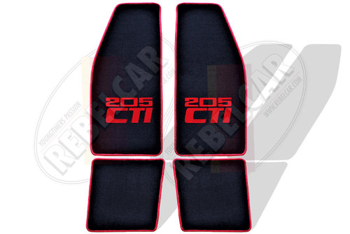 BLACK VELVET 205 CTI CABRIOLET floor mats set with BLACK CENTRAL HORIZONTAL LOGOS and RED BORDER