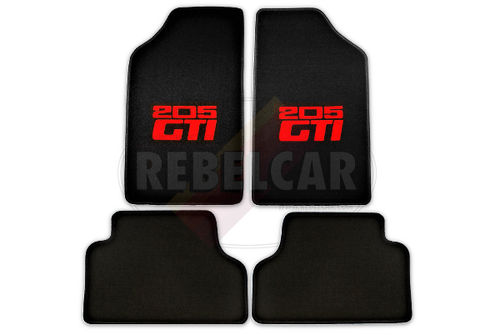 BLACK VELVET 205 GTI floor mats set with CENTRAL HORIZONTAL RED LOGOS and BLACK BORDER