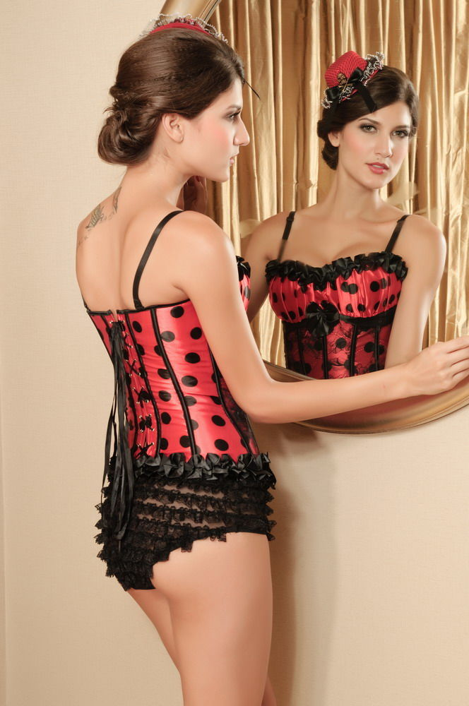 Top Bustier Burlesque Pin Up avec Bonnets plissé sexy
