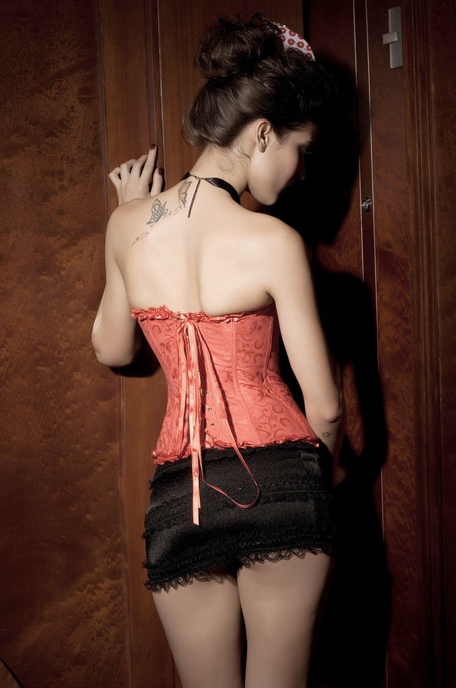 Bustier Corset Glamour brocart rouge