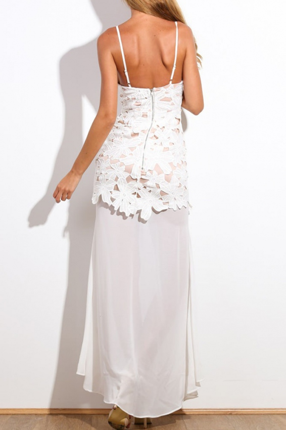 Robe sexy Blanche et voile mousseline