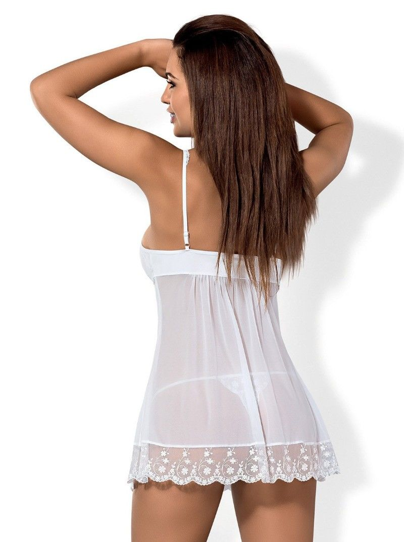Nuisette babydoll sexy blanche