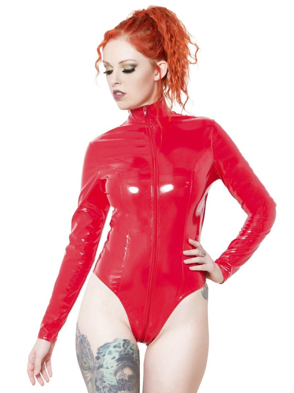 Body Sexy vinyle PVC Lack Fétish Rouge