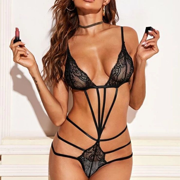 Body string dentelle florale sexy