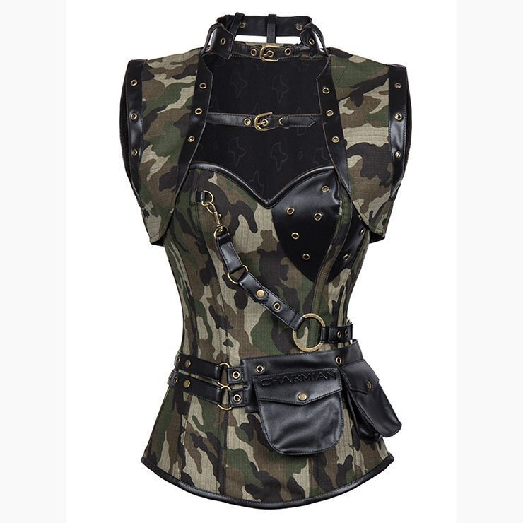 Corset Bustier Camouflage Overbust  simili cuir
