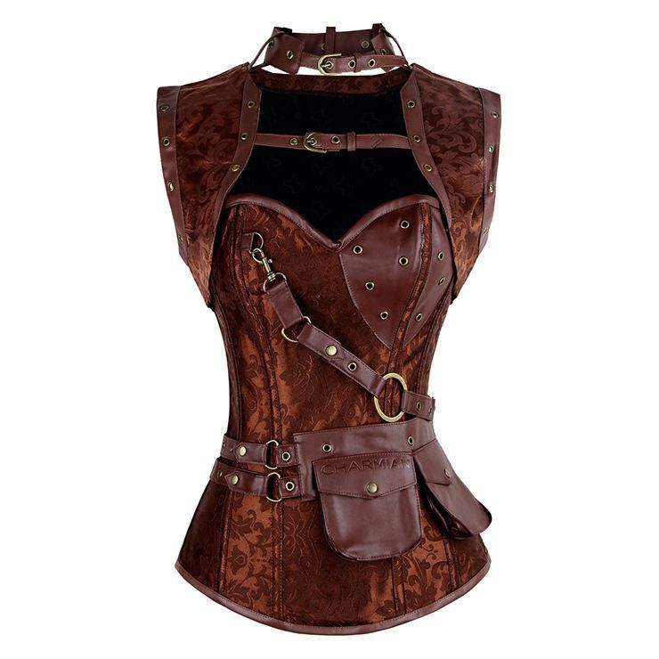 Corset Steampunk brocard simili cuir marron