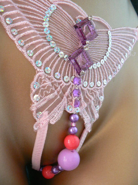 String tulle papillon rose ouvert et perle intime