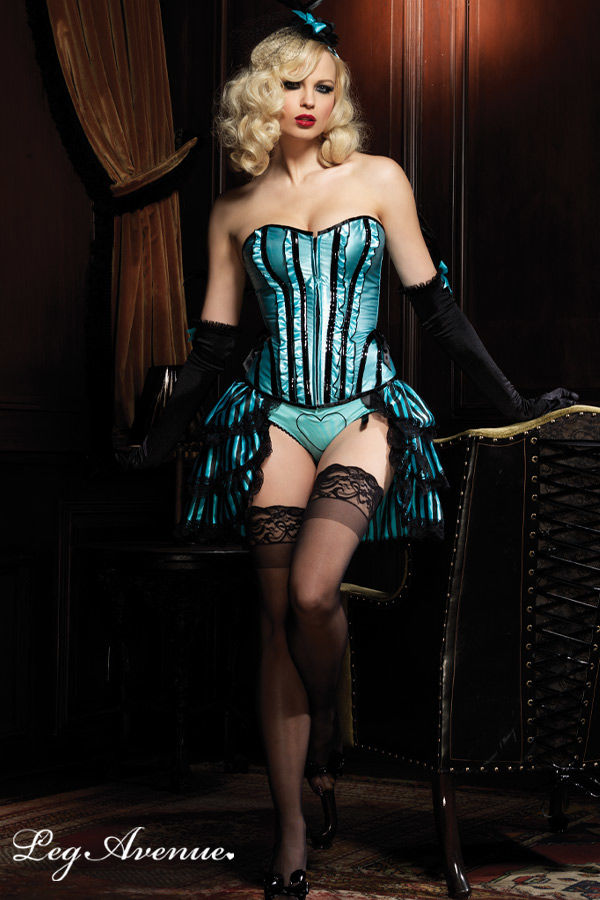 Corset Burlesque grande taille satiné Betty Leg 86317Q