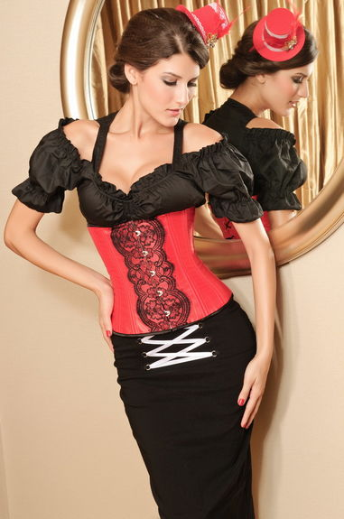 Corset serre taille sexy satin rouge