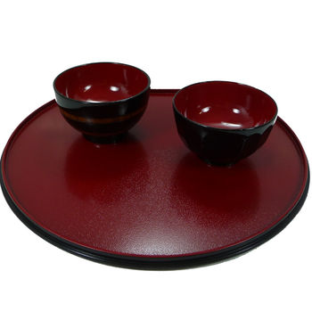 Round red tray 36x32cm
