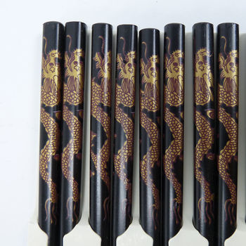 5 pairs of black chopsticks set - golden dragons