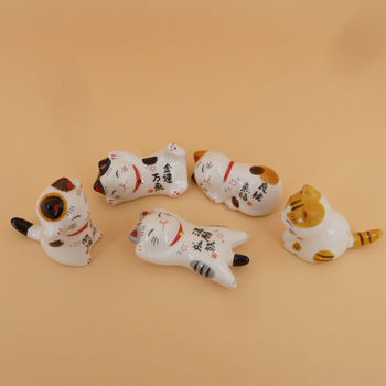 Chopstick rest Maneki Neko set