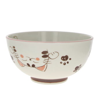 "Bowl for Donburi ""Mike cat"" - Pink 16cm x 8.5cm"