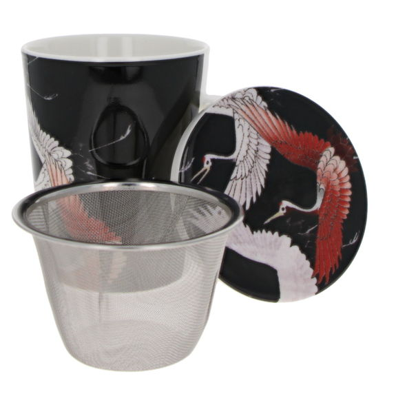 """""""Cranes"""" teacup with filter & lid"""