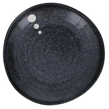 Black plate with white dots 16.5 x3cm