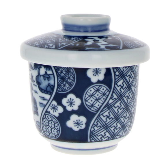 Bowl and lid for Chawan Mushi - Blue landscape