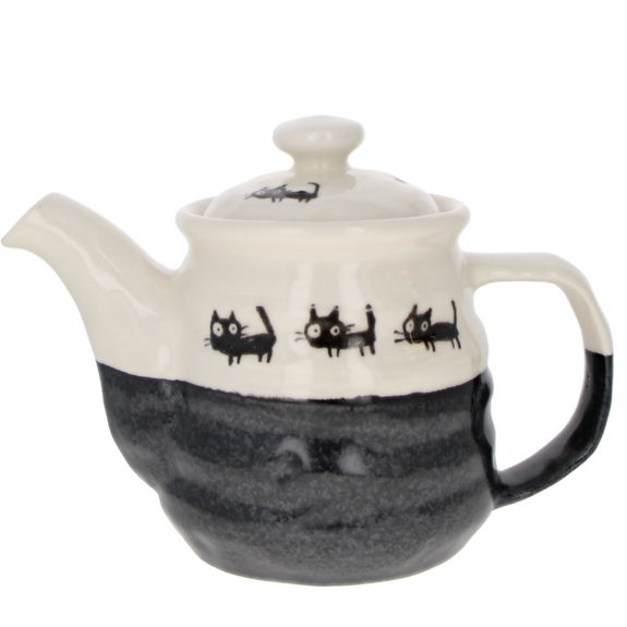 """Japanese teapot with filter - """"Black cats"""" - Black 510ml"""
