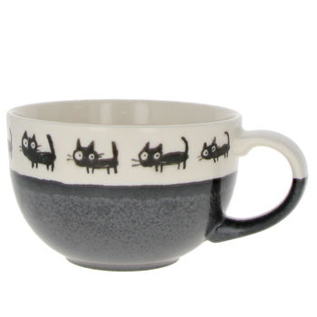 "Tea or soup japanese wide tea cup  ""Black cat"""