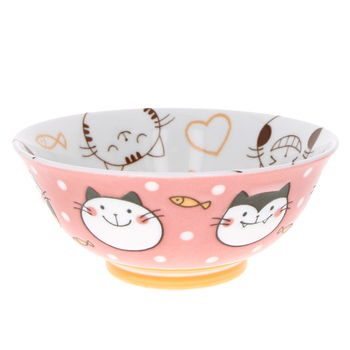 """Pink cat"" japanese ramen bowl for child"