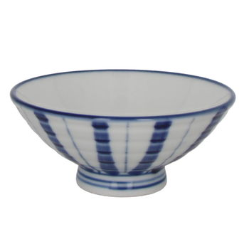 "Japanese rice bowl ""Blue stripes"" - Large 12.1cm x 5.5cm"